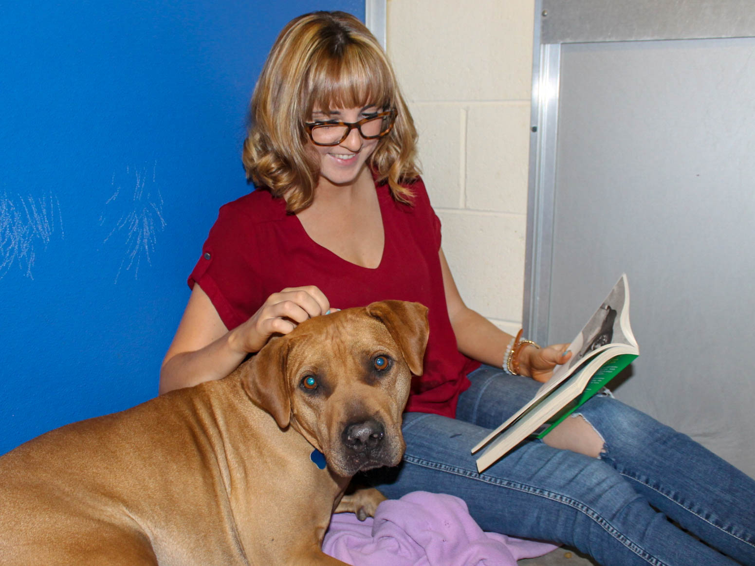Dog and girl reading book together
